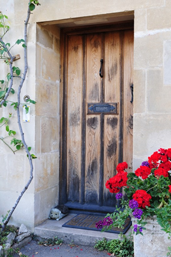 Old cottage-like hotel door