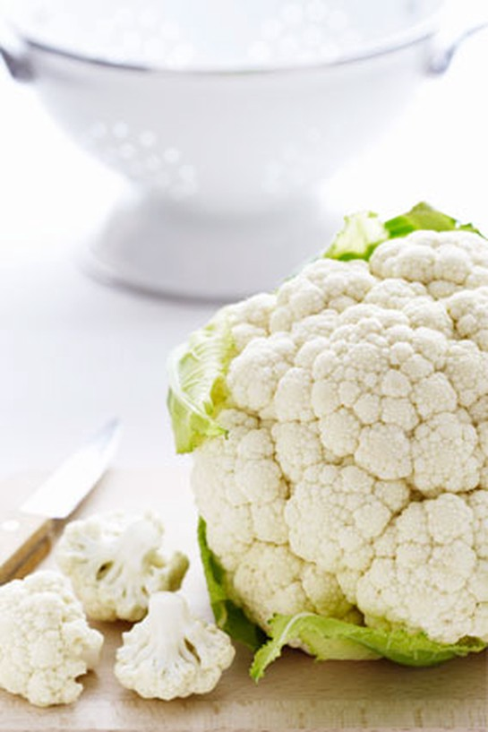 Cauliflower on cutting board