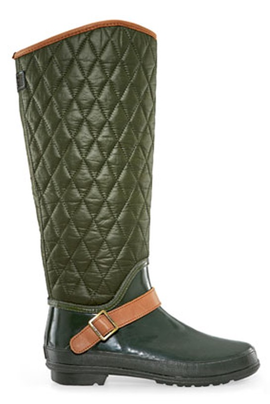 green quilted riding boot