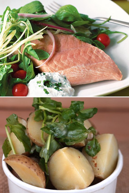 Poached Salmon with Dill Sour Cream and Potato and Watercress Salad with Mustard Dressing