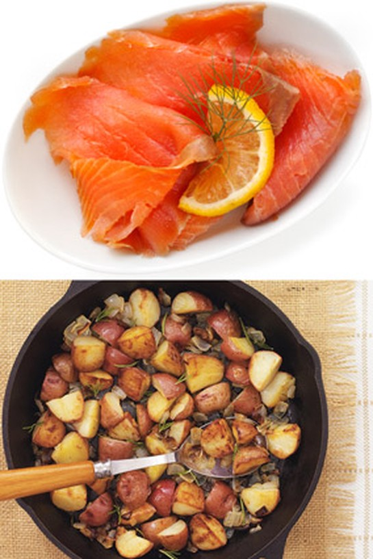 Smoked salmon and Cast Iron-Roasted Potatoes with Rosemary and Onion