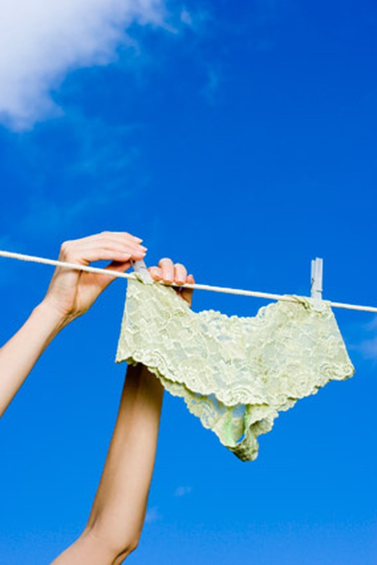 Hanging underwear out to dry