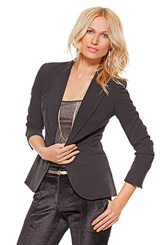 woman in a tailored blazer