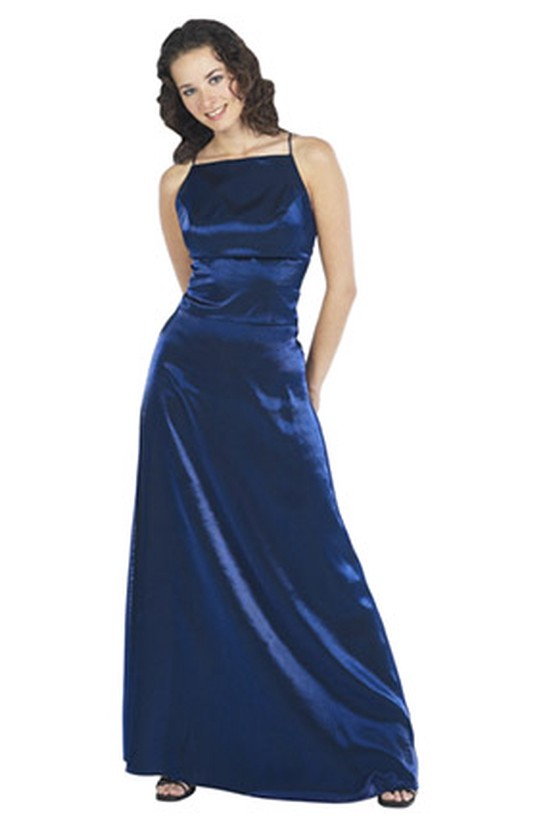 Woman in a navy evening gown