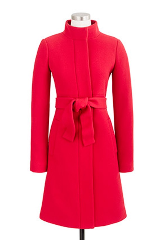 Red J.Crew funnel-neck coat
