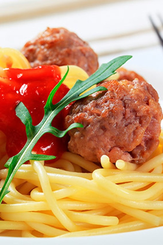 Turkey meatballs on pasta