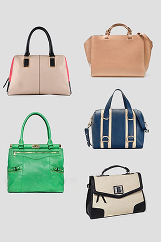 Structured top-handle bags