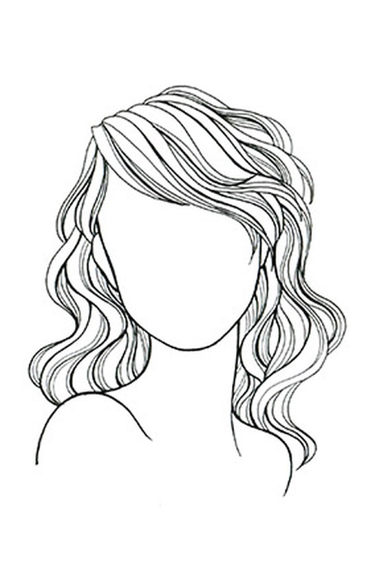 Wavy or Curly Hair, Round Face