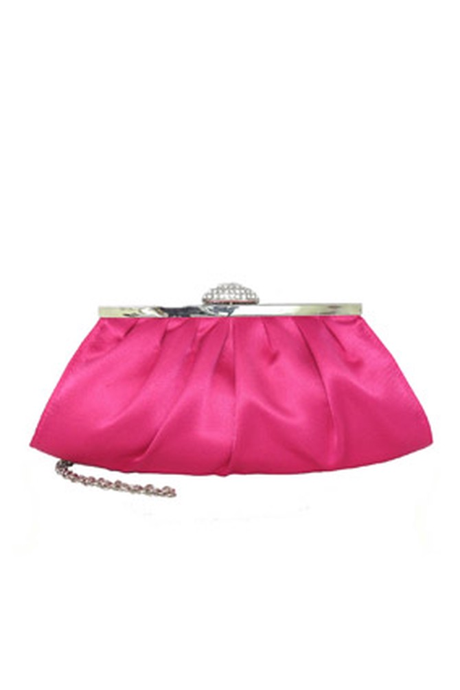 b62dd32e37e6 La Regale Satin Clutch on Frame with Rhinestone Closure