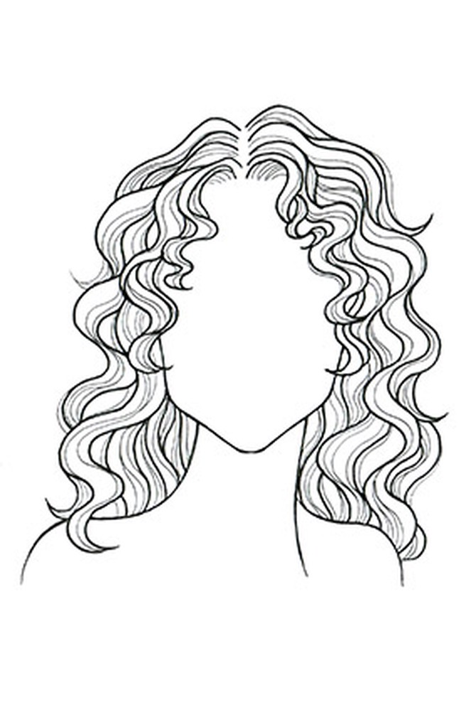 It is a graphic of Adorable Drawing Wavy Hair