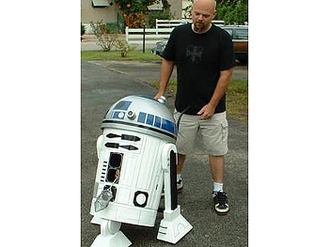 Sharon's grandson dressed as R2D2.