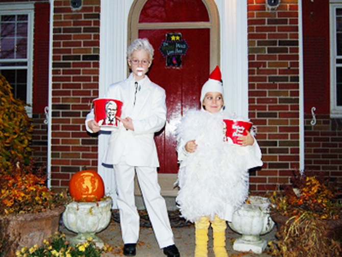 Rowena's kids dressed as a chicken and Colonel Sanders.