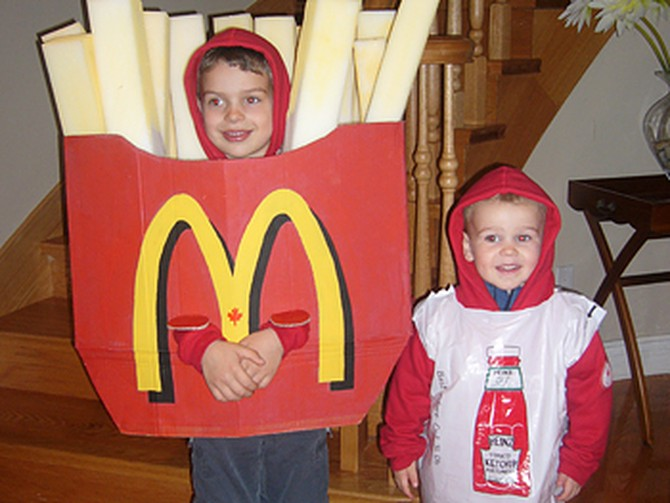Kim's sons dressed as french fries and ketchup.