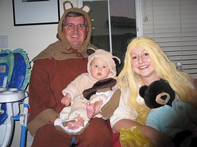Heather and her family dressed as Goldilocks and the Three Bears.
