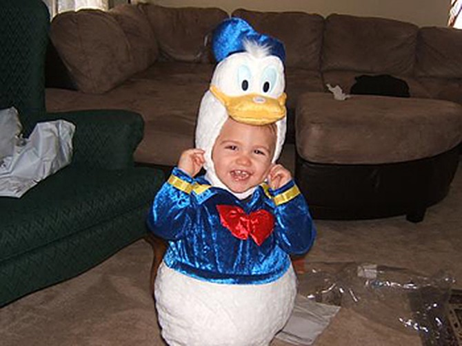 Nicole's son dressed as Donald Duck.