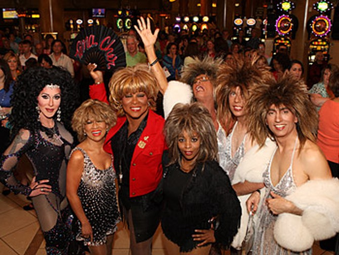 Tina Turner and Cher impersonators line up at Caesars Palace.