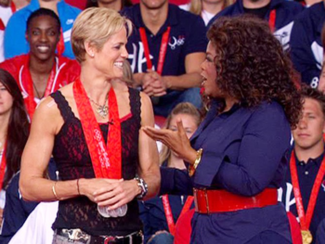 Oprah talks to Dara Torres.