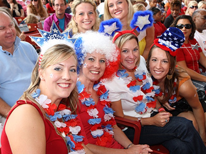 Patriotic audience members