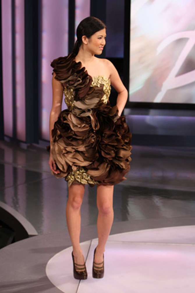 Christian Siriano's brown cocktail dress