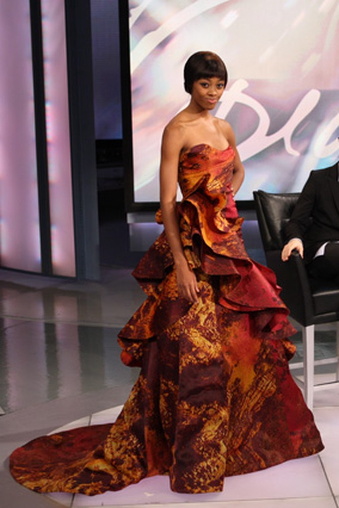 Christian Siriano shows a gown with a volcanic print.