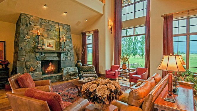 Living room with fireplace - Photo by Gordon Wiltsie