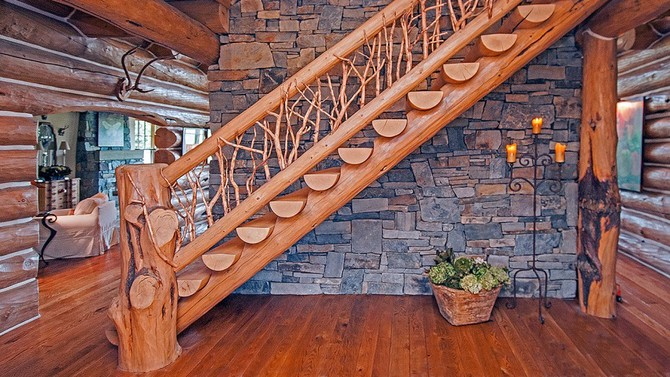 Natural wood staircase - Photo by Gordon Wiltsie