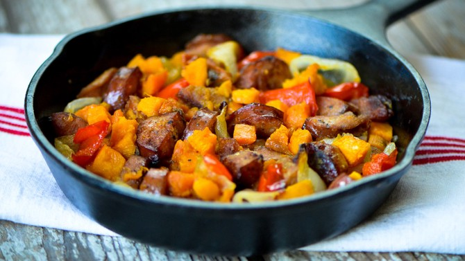 sweet potato and chicken sausage hash