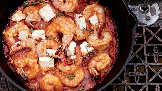 20-Minute Skillet-Baked Shrimp and Feta