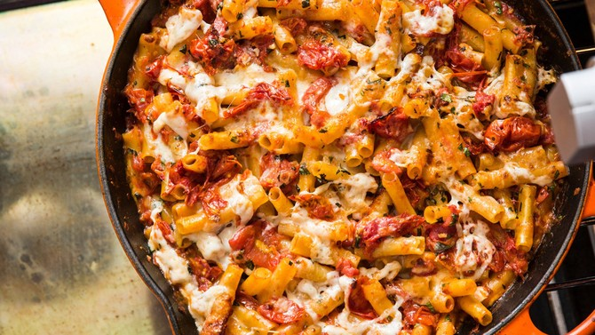 Baked Ziti with Charred Tomatoes