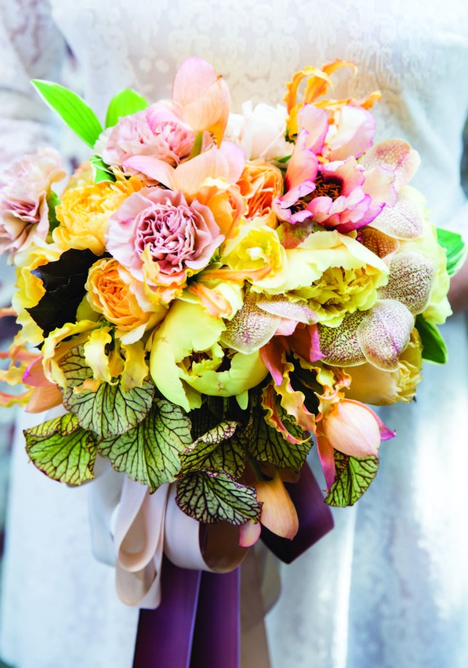 wedding bouquet peach and yellow