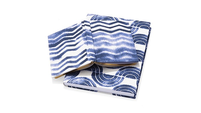 blue and white notebook