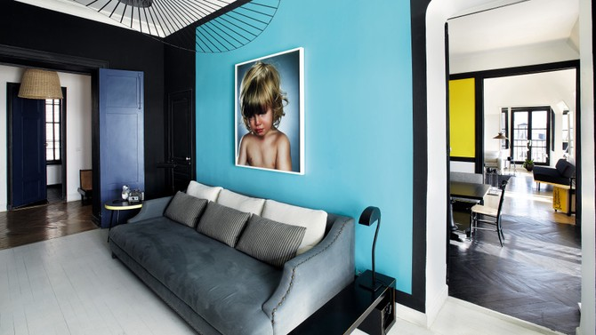 blue and black paint combo for living room