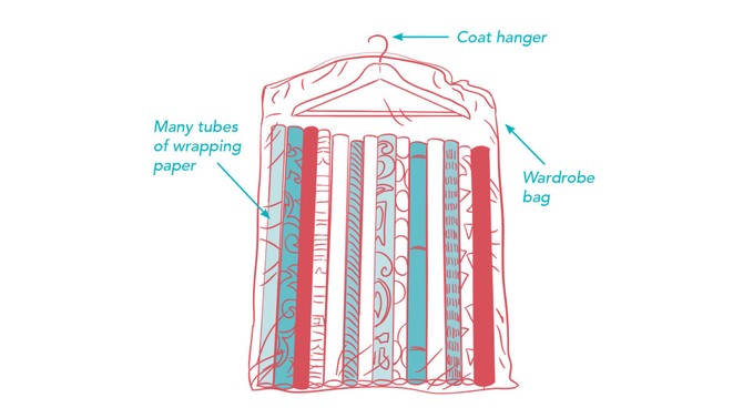 wrapping paper storage hack