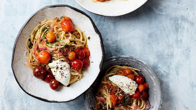 Spaghettini with Burst Cherry Tomatoes and Basil