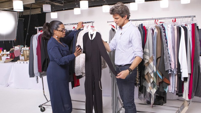 Oprah and Adam inspect new jumpsuit from LA Relaxed