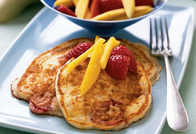 Mango-Strawberry Griddle Cakes brunch and breakfast recipe