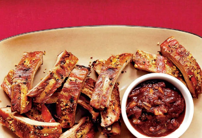 Lemon Pepper Dry-Rub Ribs with Garden Vegetable Barbecue Sauce