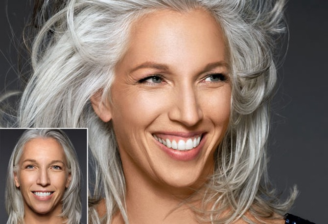 Adding volume for a gray hair transformation