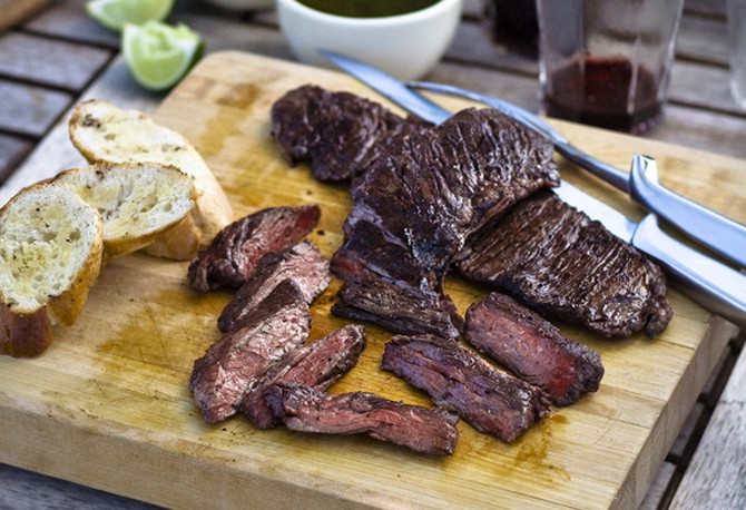 Grilled Skirt Steaks with Two Chimichurris Recipe