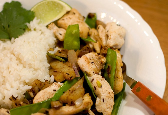 Curried Chicken Stir Fry with New Potatoes and Snow Peas