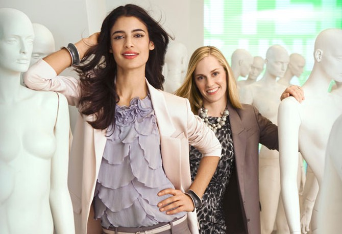 Lisa Axelson with model wearing Ann Taylor blazer