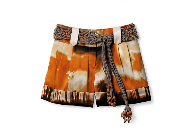 pleated satin shorts and macramé belt