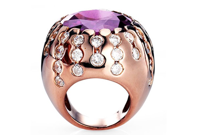domed rose-gold ring