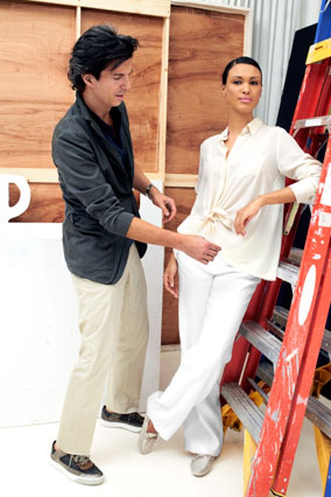 Adam Glassman with model in relaxed clothing