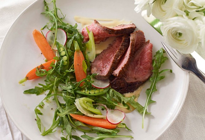 Warm Rare Beef Salad with Miso Mustard and Spring Vegetables