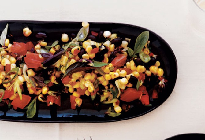 Sweet Corn Salad with Black Beans, Scallions and Tomatoes Recipe
