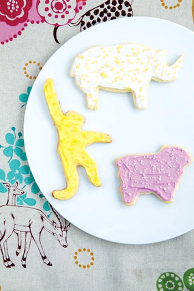 Animal Cookies with Frosting and Sprinkles