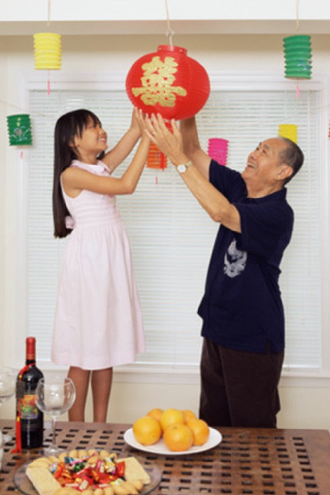 Family preparing for Chinese New Year