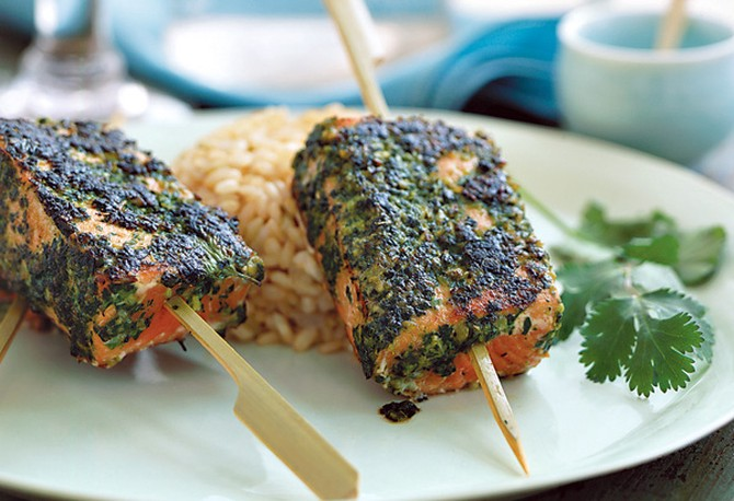 Wild Salmon Satay with Asian-Style Pesto
