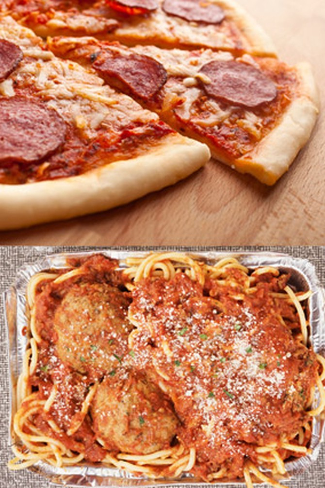 Box of pepperoni pizza and spaghetti and meatballs